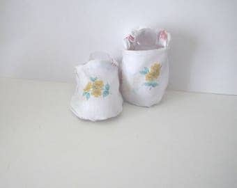 Shoes booties baby 3 months cotton fabric printed flowers