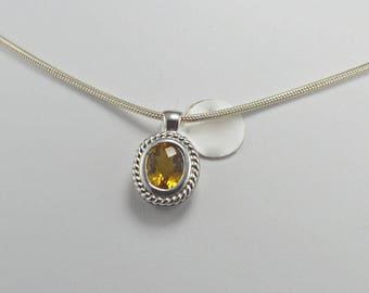 Citrine Sterling Silver Pendant, Rhodium Plated