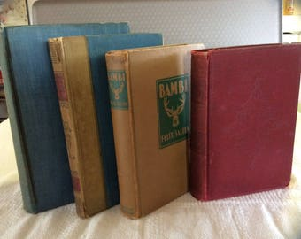 Colorful old books vintage antique book set blue red Bambi Mikado Pirates Revolution small decorative book display  library office decor