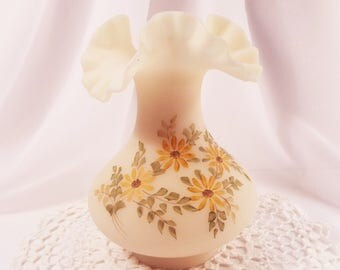 Vintage 1970s Fenton Satin Glass Vase - Hand Painted Daisies - Signed by Artist