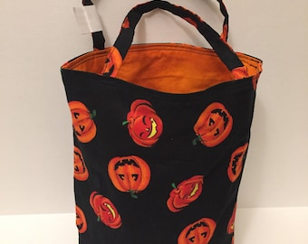 PUMPKINS with bright orange- Lined Halloween Trick or Treat Bag or Gift Bag,Candy Tote,Ghosts,Pumpkins,Orange,Black - Ready to SHIP