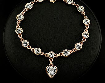 Linked Forever Crystal Heart Charm Bracelet - Choose Your Color