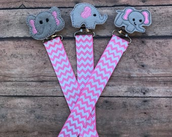Elephant Baby Paci Clip - Elephant Paci Clip - Elephant Baby Gift - Elephant Binky Clip - Pink Elephant - Pink Elephant Baby - Elephant