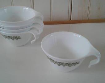 Set of Five (5) Corelle by Corning Livingware Spring Blossom Flat-Bottom Hook Cups