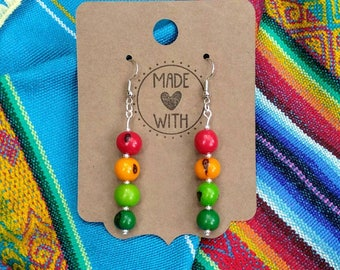 Acai Seed Multi Colored Earrings ~ Ecuador Renewable Resource Jewelry ~ Boho Style Ethnic Accessories ~ Red Yellow and Green  Acai Earrings