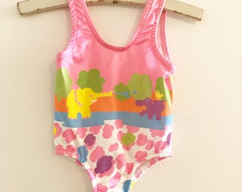 Vintage Healthtex animal baby swimsuit. Baby bathing suit. Size 6 months.