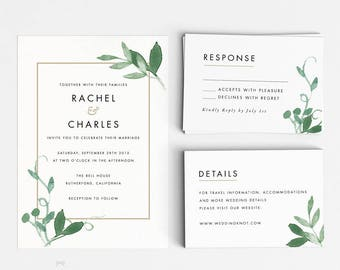 Modern Botanical Wedding Invitation Suite, Wedding Invitation Printable, Invitation Set, Invitation Rustic, Letter or A4(Item code: P127n)