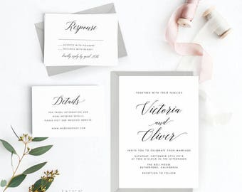 Modern Wedding Invitation Suite, Wedding Invitation Printable, Invitation Set, Wedding Invitation Rustic, PDF Letter or A4 (Item code: P462)