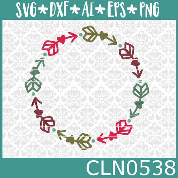 CLN0538 Layered Arrow Heart Circle Monogram Frame Drawn SVG DXF Ai Eps PNG Vector Instant Downloads Commercial Cut Files Cricut Silhouette