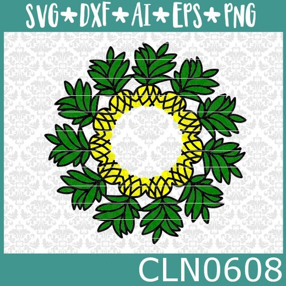 CLN0608 Pineapple Monogram Mandala Summer Hawaiian Fruit SVG DXF Ai Eps PNG Vector Instant Download Commercial Cut File Cricut Silhouette