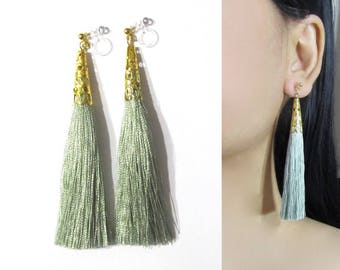 Sage Green Tassel Clip On Earrings |35L| Long Dangle Clip Earring, Gold Filigree Boho Clip-ons earring, Invisible Statement Clip on Earrings