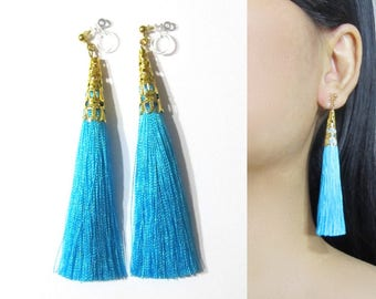 Aquamarine Blue Tassel Clip-On Earrings |35p| Dangle Long Clip Earring, Gold Filigree Clip-ons, Bohemian Bridal Clip on Non Pierced Earring