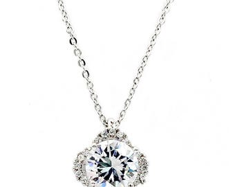 Flashing flower crystal silver necklace