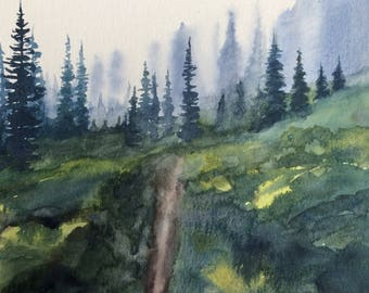 Pine tree painting, Pacific Northwest, Misty landscape, tree painting, Misty mountains, cascades, watercolor trees, tree painting, landscape