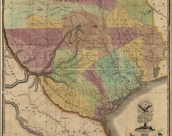 Poster, Many Sizes Available; Map Of Texas By Stephen F. Austin 1837