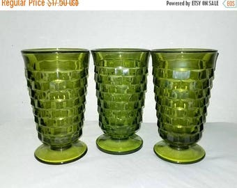Whitehall Green Tumbler,Set of 3, Whitehall Footed Glass,Avocado,American Whitehall,Tumblers,Colony Glass Co,Mad Men,Fostoria,1960s