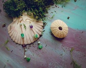 Dalvik chrysoprase, amethyst, green onyx and larimar assymetrical chain earrings