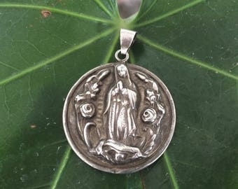 Antique Our lady of Guadalupe pendant, silver 925