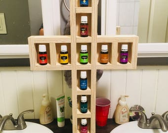 Essential Oil Cross, young living, doterra, jesus, storage, shelf, display, crucifix