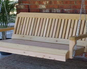 Brand New 5 Foot Cedar Wood Traditional Porch Swing with Hanging Chain - Free Shipping