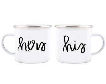 His and Hers Campfire Mug Set Wedding Gift Mr and Mrs Mugs His and Hers Engagement Gift Couples Mugs His and Her Mugs Wedding Mugs Gift