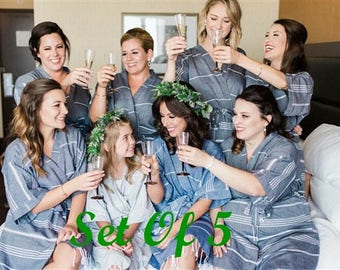 Bridesmaid robes // kimono kaftan robes // set of 5 bridal party robes // wedding party robes