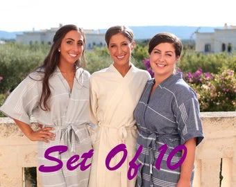 Set Of 10 bridesmaid robes // turkish kimono kaftan robes // women for robes // turkish bathrobe // white wedding party gift
