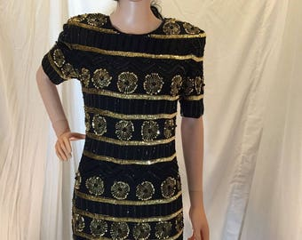 Vintage Art Deco Stenay 100% Silk Beaded Sequin Cocktail Dress Black and Gold Short Sleeves Size 4
