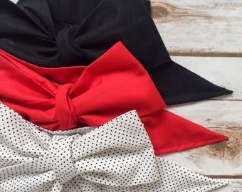 Gorgeous Wrap Trio (3 Gorgeous Wraps)- Noir, Candy Apple & Dottie Gorgeous Wraps; headwraps; fabric head wraps; headbands