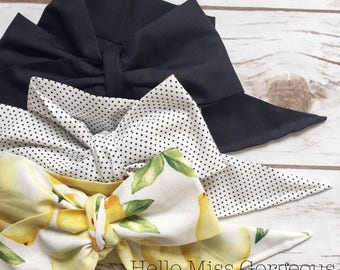 Gorgeous Wrap Trio (3 Gorgeous Wraps)- Noir, Dottie & Sweet Lemon Gorgeous Wraps; headwraps; fabric head wraps; bows