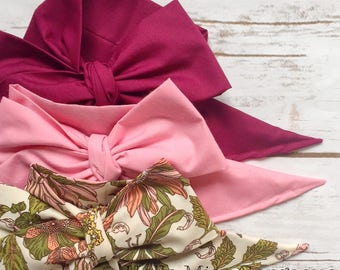 Gorgeous Wrap Trio (3 Gorgeous Wraps)- Burgundy, Dusty Rose & Vintage Olive Floral Gorgeous Wraps; headwraps; fabric head wraps; bows