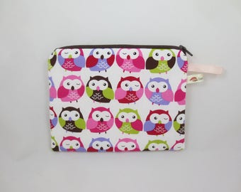 Clutch purse-owls make up, put handbag, school, documents or your needs