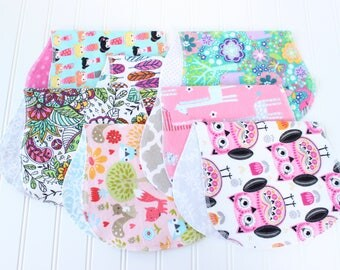 Baby Girl Burp Cloths - Set of 7 - Baby Shower Gift - Baby Gift - Aztec - Woodland