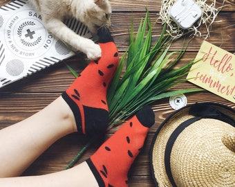 Watermelon short socks, Fruit Socks, Tropic Socks, Short Socks for Men/Women. Free worldwide delivery