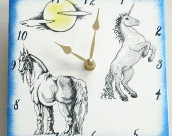 "Ceramic tile Unicorn clock, 6"" square, blue border"