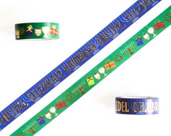 Hanukkah, Jewish Washi Tape with Gold Foil, Full Sets and Sample Lengths Available