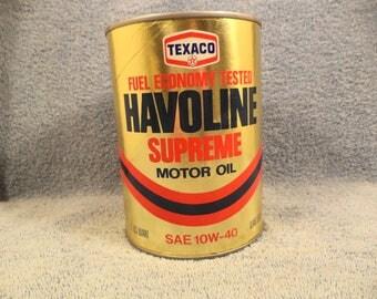 Texaco Havoline Supreme 1 Quart Motor Oil Can