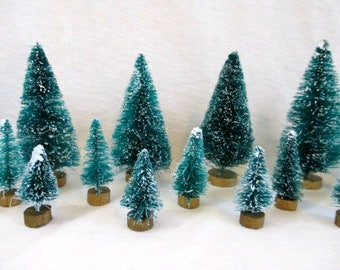 bottle brush trees flocked christmas trees sisal trees craft supplies vintage christmas craft supply christmas mini - Bottle Brush Christmas Trees