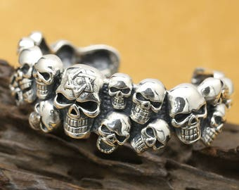 S925 sterling silver, fashion, vintage, punk, rock and roll, skull, cross Bracelets