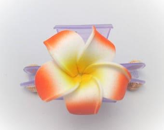 Plumeria flower hair clip