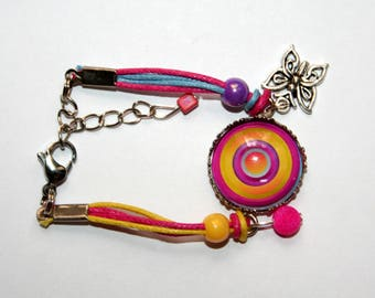 Bracelet child Mandala psychedelic purple, fuchsia, yellow and blue
