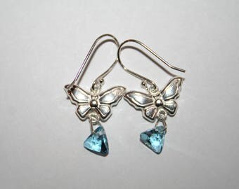 Swarovski crystals and Sterling Silver earrings butterflies