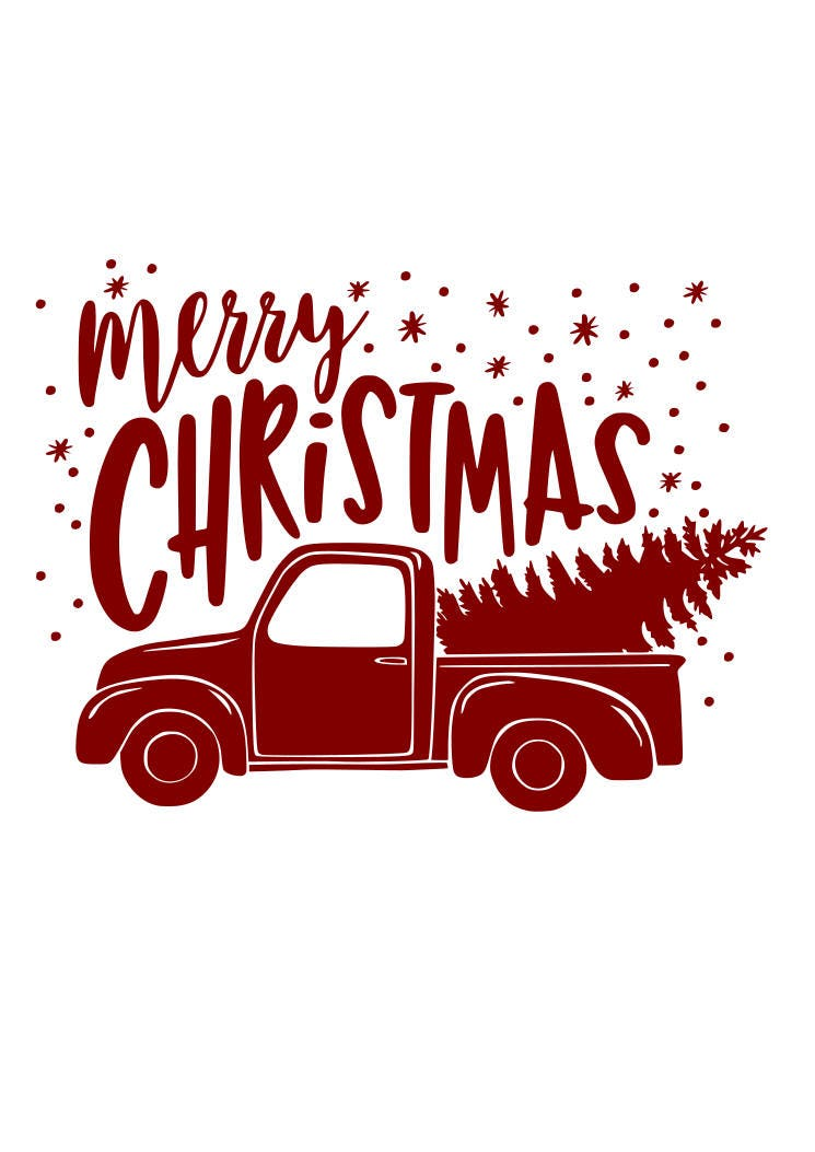 Download Merry Christmas Red Truck SVG File Quote Cut File Silhouette