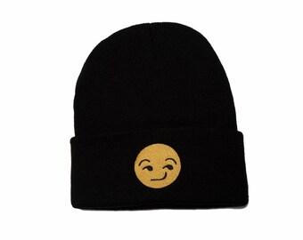 Emoji Beanie, Emoji Hat, Emoji Smirk, Emoji Gifts, Embroidered Beanie