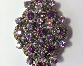 Vintage Purple Glass Gem Brooch, Lilac Brooch, Vintage Wedding, Bridal, 1930's Brooch