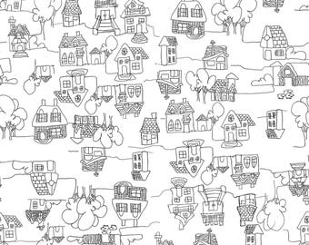 """100% linen """"houses"""" fabric by the yard"""