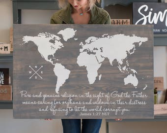 Scripture Sign | World Map | Bible Verse Sign | Farmhouse Decor | Wood Sign | Rustic Sign | Custom Scripture sign | Personalized Sign