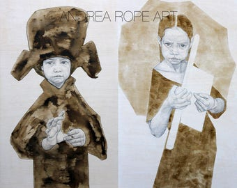 Original Drawings.  Wallnut stain and Graphite on wood. Diptych / 2 pieces of 100x60 cm