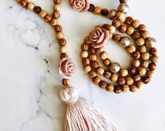 Rose Wooden bead handmade necklace, statement necklace, tassel necklace