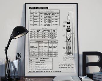 Saturn V Design Diagram - Apollo Launch Vehicle - Minimalist Poster - NASA